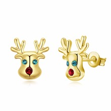 Christmas Plum Antlers lovely kids Child style stud earrings rose golden Girls Jewelry enamel process Brincos de ouro(China)