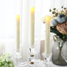 2Pcs Taper candles real wax stick led Candle scented bougie velas Electric LED light lamp for home Wedding birthday Decoration(China)