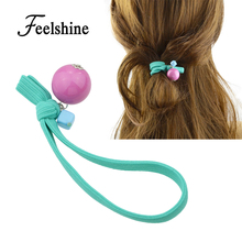 Feelshine Cute Sweet Style Hair Jewelry Colorful Elastic Rope Chain With Round Square Geometric Stone Headbands For Women(China)