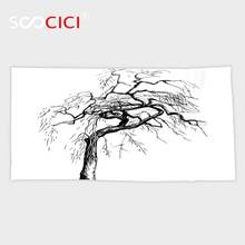 Custom Microfiber Ultra Soft Bath/hand Towel,Apartment Decor Illustration of an Autumn Tree with Dead Dry Branches Dramatic(China)