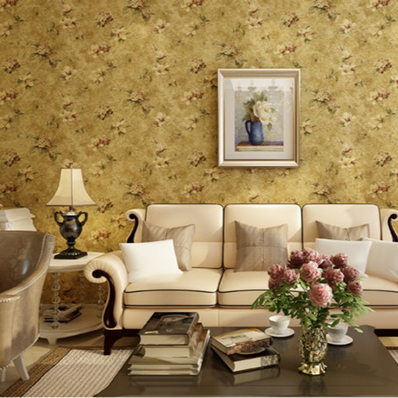 beibehang Luxury and non-woven flocking wallpaper bedroom wallpaper pastoral retro decoration TV backdrop  papel de parede<br>
