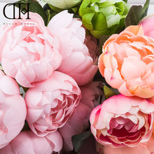 DH Peony bouquet Artificial Peony fabric white Flowers Bridal Bouquet Fake flower bouquet Party Garden Decoration