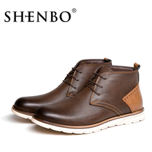 SHENBO Brand Fashion Men Boots, Fashion Men Ankle Boots Autumn Winter Boots
