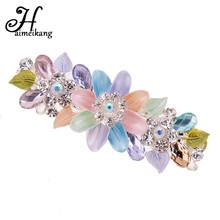 Haimeikang 2017 New Acrylic Flower Rhinestone Spring Clip Hair pin Lady Crystal Metal Hair Clip For Women Hair Accessories(China)