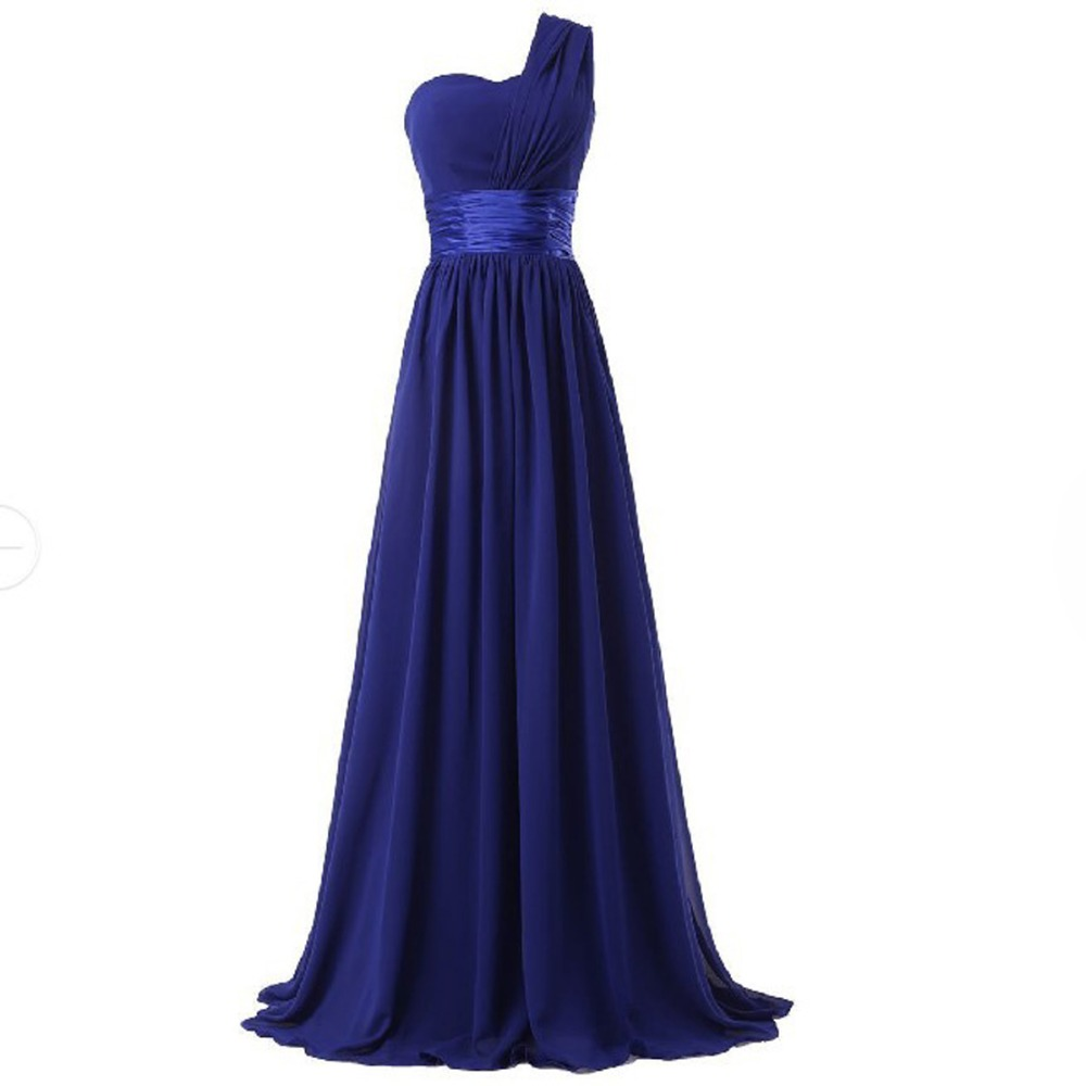 2017 long bridesmaid dress one shoulder a line chiffon for women elegant fashion style purple blue mint green pink red yellow 4