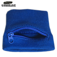 Cotton Zipper Sport Wristband Gym Fitness Wrist Support Straps Wraps Running Badminton Sweatband Wrist Arm Band Bag With Pocket