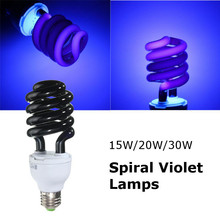 Lowest Price E27 15/20/30W Spiral Enegy Saving UV Ultraviolet Fluorescent Black Light CFL Light Bulb Violet Lamps 220V 300-400nm