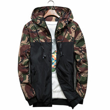 Men Bomber Jacket Thin Slim Long Sleeve Camouflage Mens Military Jackets Hooded Windbreaker Zipper Outwear Army Brand Clothing