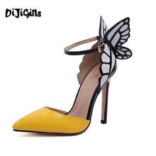 sophia webster women pumps sexy brand Pointed Toe high heel Women's designer butterfly wedding party shoes woman size 35-41(China)