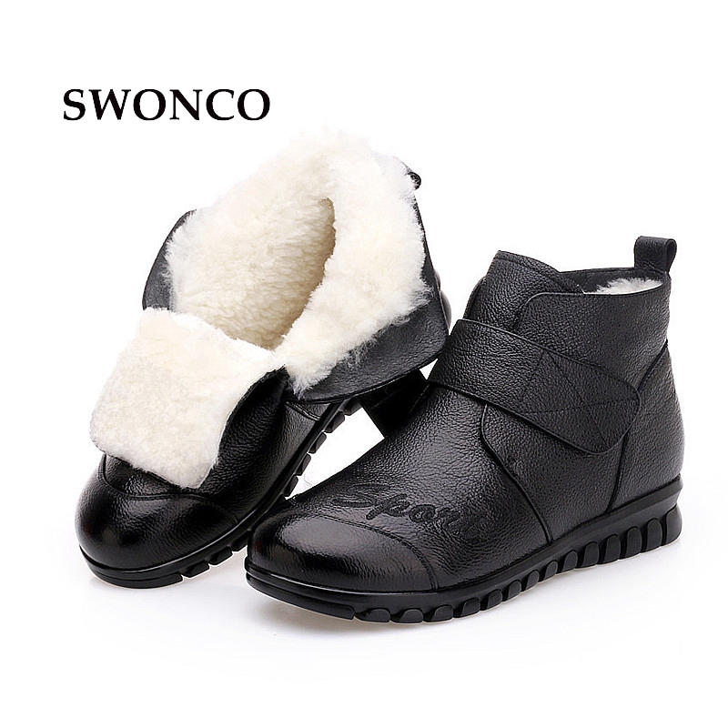 SWONCO Women Winter Boots 2018 Genuine Leather Warm Wool Black Snow Boot Ankle Boots For Women Fur Hook & Loop Ladies Shoes Boot