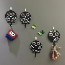 1PC Wooden Hanger Hook Vintage Country Style Cute Owl Emoji Rusty Old Finish  Decorative Home Store Wall Deco Photo Prop A45