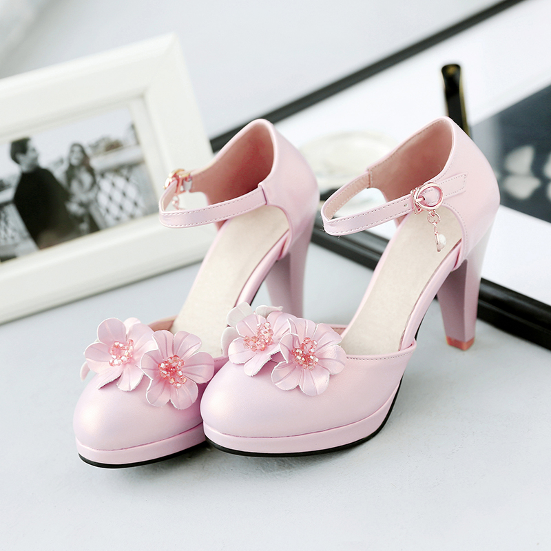 New arrive sweet women pumps shoes thick heel shoes woman 2017 high heels platform shoes sexy women white pink wedding shoes<br>