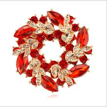 10Pcs/Lot Fashion Corsage Ornaments Shiny Rhinestones Crystal Bauhinia Women's Circle Brooches Wearing Wedding Party Decorations
