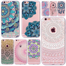 2016 New Phone Case Cover For iPhone 6 6S Soft Silicon Black Colorful Hollow transparent HENNA OJIBWE DREAM CATCHER Ethnic Triba
