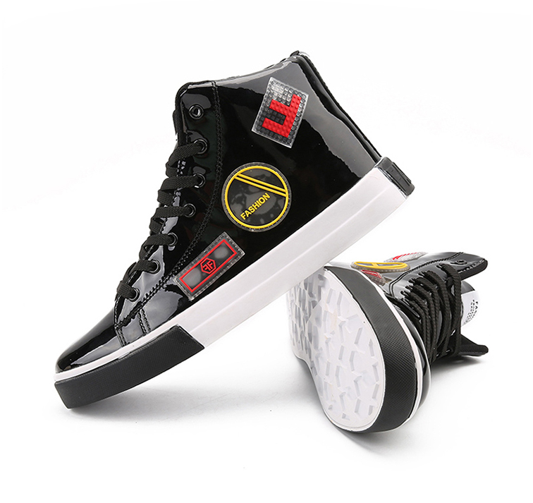 2018 Men leather casual shoes hip hop Gold fashion sneakers silver microfiber high tops Male Vulcanized shoes sizes 46 13 Online shopping Bangladesh