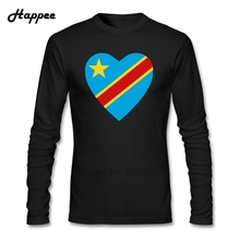 Congo Kinshasa Flag Heart T Shirt Men Cool 100% Cotton Long Sleeve T-Shirts Teenage Clothing Top Printed Tee For Male