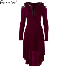 Gamiss 2017 Vestidos Autumn High Quality Hooded Dress Lace Up Cold Shoulder Casual A Line Solid Ladies Long Sleeves Midi Dress