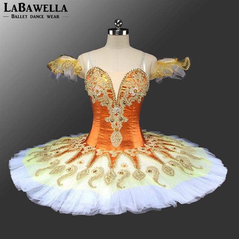 BT9134A Competition Girls Orange Pancake Tutus White Tulle Women Yellow Sugar Plum Fairy Professional Ballet Tutu Stage Costumes