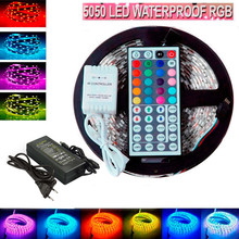 5M Flexible waterproof LED Strip Light RGB rope SMD 5050+44 Key Remote+12V 5A power Free Shipping with retail package