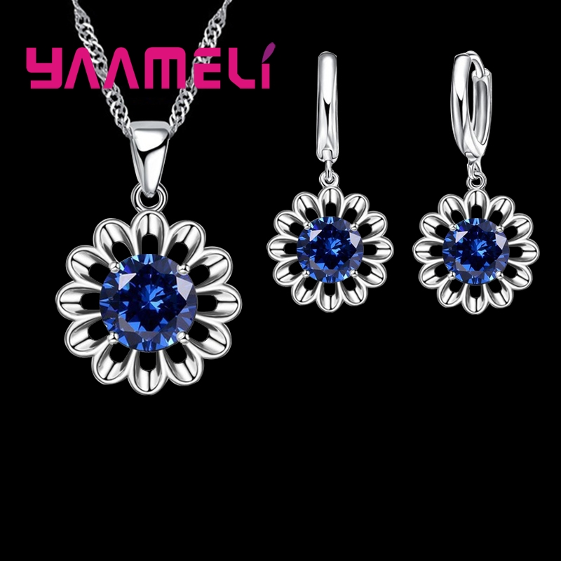 Pendant Necklace Jewelry-Sets Earrings Crystal 925-Sterling-Silver Cubic-Zirconia Women title=