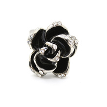KAMEIER European Classic rose flower rings for women and size can adjust Romantic black rose rings women as party gift ring bulk