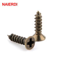100PCS NAIERDI 2x6/8/10mm Screws Bronze Tone M2 Flat Round Head Fit Hinges Countersunk Self-Tapping Screws Wood Hardware Tool