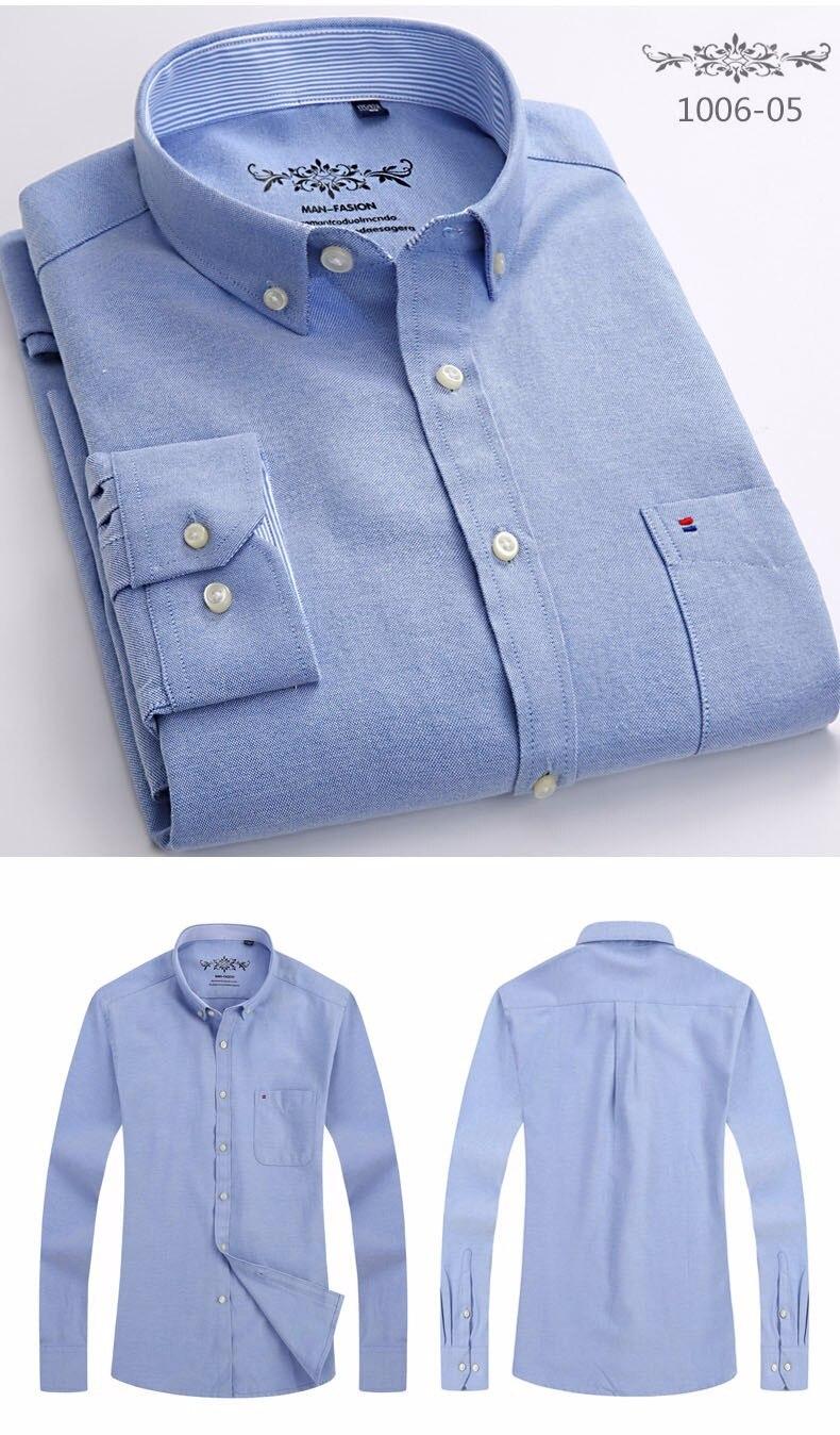 2019 2018 New Autum Design Blue Oxford Solid Color Men Dress Shirts