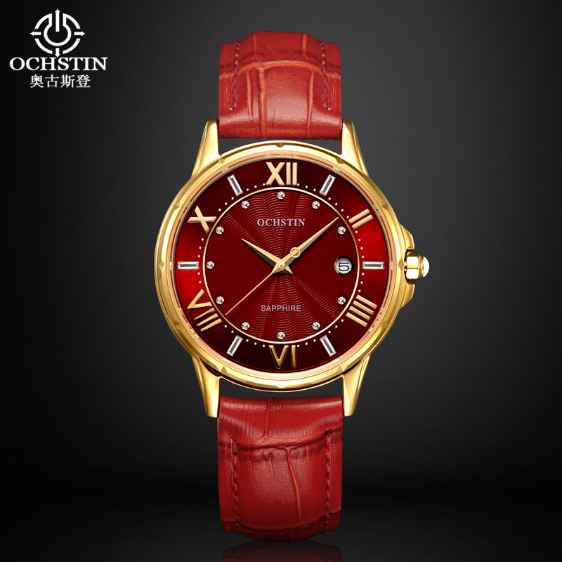 Ochstin Ladies Fashion Quartz Watch Women Leather Casual Dress Watch Red Relojes Mujer 2016 Montre Femme Rhinestone Watch Women<br>