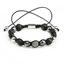 Mestylish Fashion 8mm Round CZ Ball  Nature  lava Hematite beads Bracelets & Bangles Braided Macrame Men Bracelets Jewelry