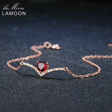 Lamoon Heart 100% Natural Gemstone Classic Red 0.3ct Garnet 925 Sterling Silver Jewelry 18KGP Chain Charm Bracelet S925 LMHI011(China)