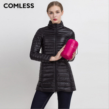 COMLESS Plus Size 4XL 8 Colors Women Casual Ultralight Down Jacket with 90% Down 10%Feather Zip Up Women Winter Long Coat Jacket