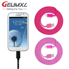 GEUMXL 1M/2M/3M Nylon Micro USB Charger Cable for Samsung s4 s5 s6 A3 A5 A7 Huawei p8 lite Xiaomi 3 meizu note 3 lg g3 g4 moto x