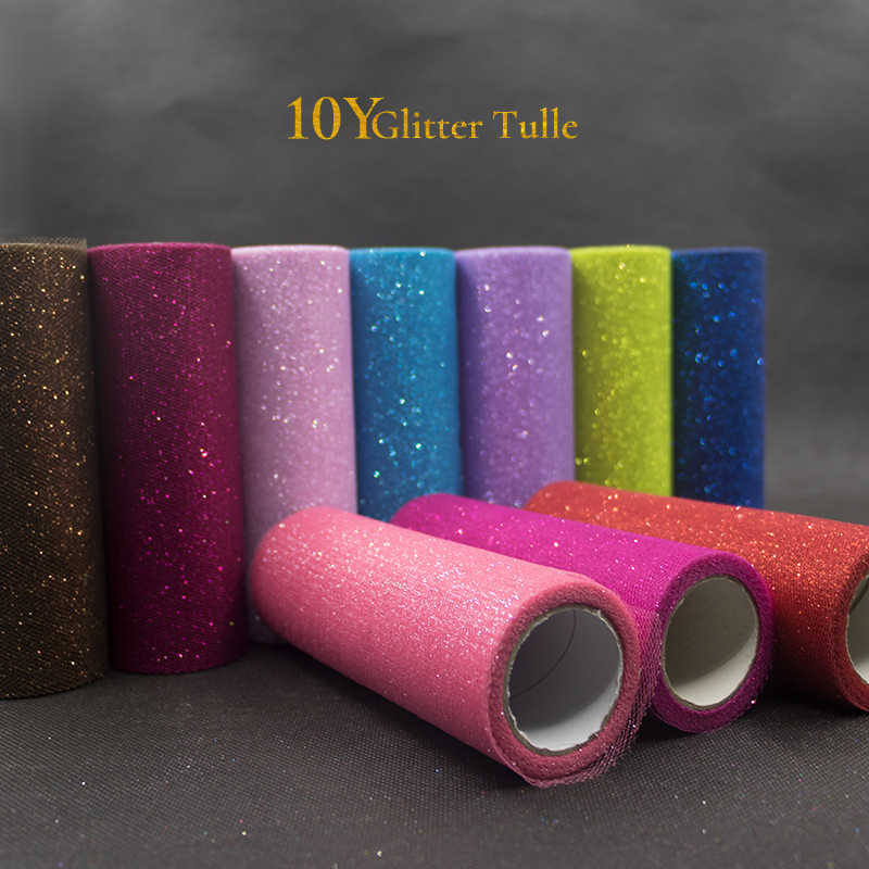 10Yards 15cm Glitter Tulle Rolls Sparkly Glitter Sequin Tulle Mesh Baby Shower Tutu Skirt Organza Table Runner Wedding Decor