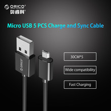 ORICO 5V2A Micro USB 2.0 Charging Data Cable Length 30cm 5 pcs for Smartphones for Samsung Xiaomi LG Android Phone  5PCS/LOT