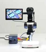Best Sale,30X-100X HD Industry Mono LCD AV Zoom video Microscope lens + Stand +AV camera + LED ringlight + 5 '' LCD screen