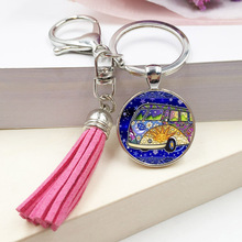 new vintage Hippie Peace Sign Van Bus keychain fashion men women purse bag car pendant key chain ring holder jewelry