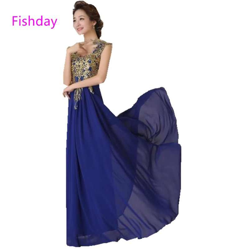 Fishday Embroidery Chiffon Evening Dresses Royal Blue Elegant Red Plus Size  Abendkleider Mother of the Bride 5588664fcee2