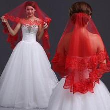 Red Tulle Bridal Veils 1.5m Short Wedding Veils Lace Edges Cheap Bridal Accessories For Hair Veu De Noiva Longo Com Renda