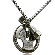 Weight Plate Pendant Necklace Stainless Steel Chain Weightlifting Barbell Necklace Men Gym Hippie Hip Hop Jewelry