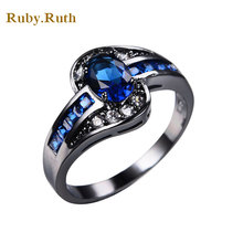 European Elegant Blue Zircon Rings For Women Wedding Band Jewelry Vintage Black Gold  Birthstone retro style steel ring