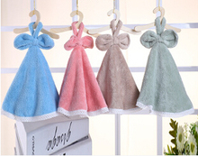 2 pieces Direct Manufacturer 4 Color Coral Fleece Hand Towel Lovely Cartoon Dress Hanger Wipe Good Water Imbibition
