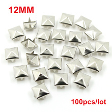 6-12MM Square Spikes Garment Rivets for Clothing Four claw metal studs and Spikes for clothies 100pcs/lot(China)