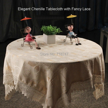 Luxury Square Elegant Chenille Table cloth With Fancy Lace Solid Color Beige TableCloth Linen Overlay Covers