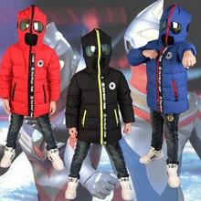 2016 New children & Parkas 3-10T winter kids outerwear boys casual warm boys hoodded jacket glasses boys warm coats