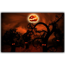 Halloween Poster Pumpkins, Black Cat, Witch's Broom Modern Cartoon Art Picture For Home Decoration Silk Poster and Prints QT057