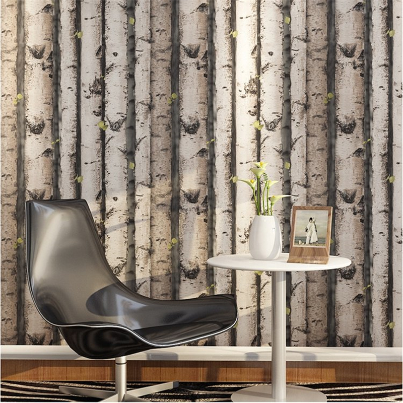 beibehang  trees Pile Vintage Natural Rustic Grained Effect Wood Tree Panel Plank Vinyl 3D Wallpaper papel de parede wall paper<br>