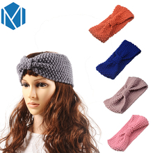 M MISM Vintage Women Bow Knot Headband Lady Autumn Winter Crochet Turban Knitted Head Wrap Girls Solid Hairband Warmer Hair Band(China)