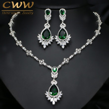 CWWZircons Exquisite Women Green Big Costume Jewellery Sets Cubic Zirconia Wedding Party Necklace Earring Jewelry T094