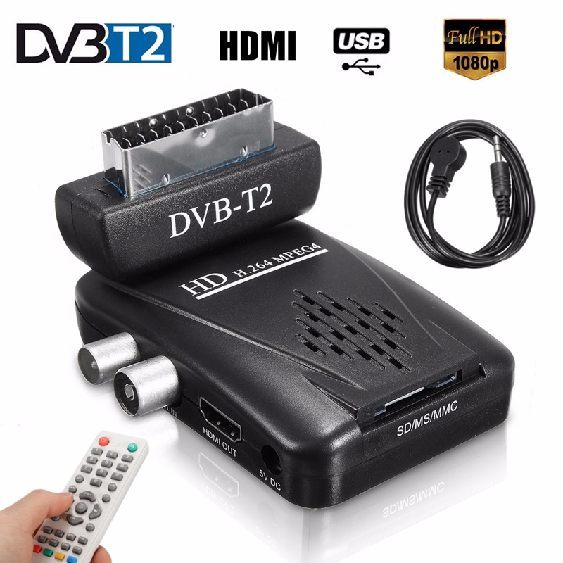 Mini Digital TV Scart SAT Free Satellite TV Channels Receiver MPEG4 HD 1080P DVB-T2 Receiver SCART Satellite Receiver EU/US Plug(China)