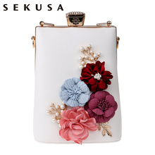 SEKUSA New Arrival Appliques Women Clutch Flower Beaded Evening Bags Chain Shoulder Messenger Handbags For Party Evening Bag(China)